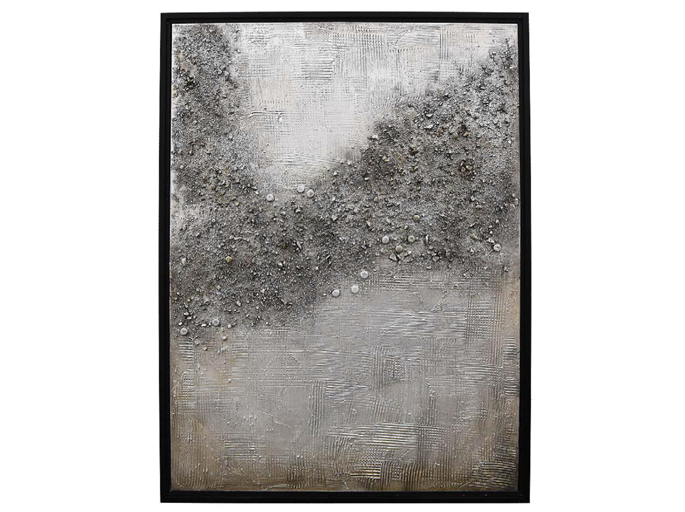 "Silver Black and Gold Textured Hand Painted Framed Art 30""W x 40""H"
