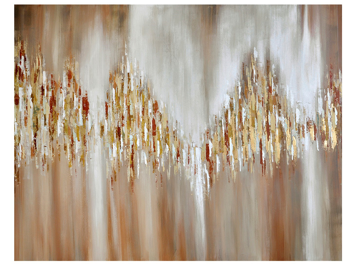 "Gold, Rust, Cream Abstract Handpainted Canvas 92""W x 72""H"