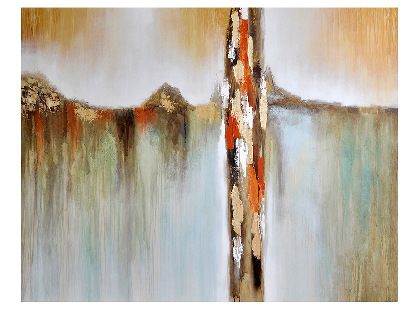 "Rust, Gold, Aqua Abstract Handpainted Canvas 92""W x 72""H"