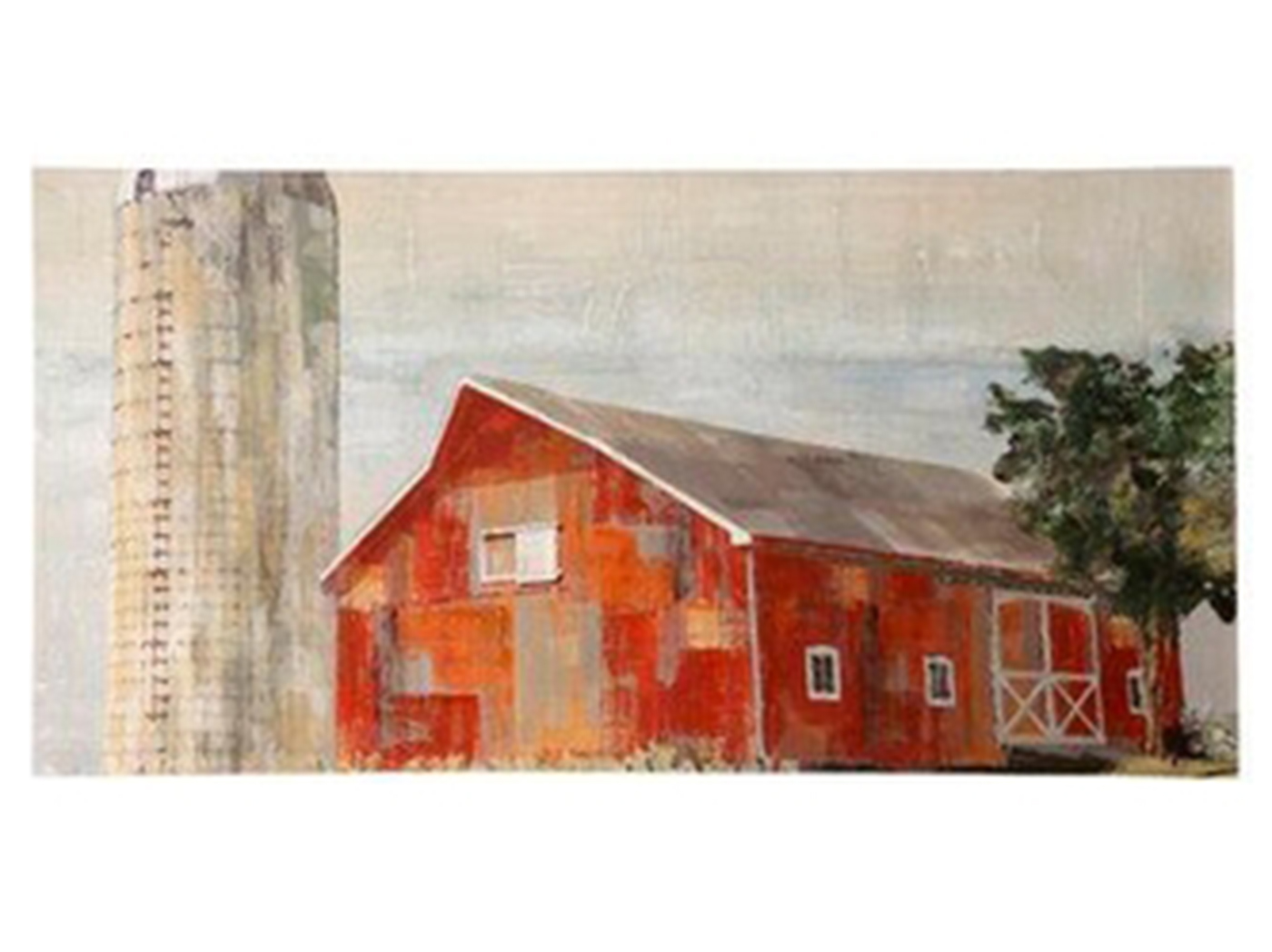 "Red Barn With Silo Hand Embellished Canvas Art 72""W x 36""H"