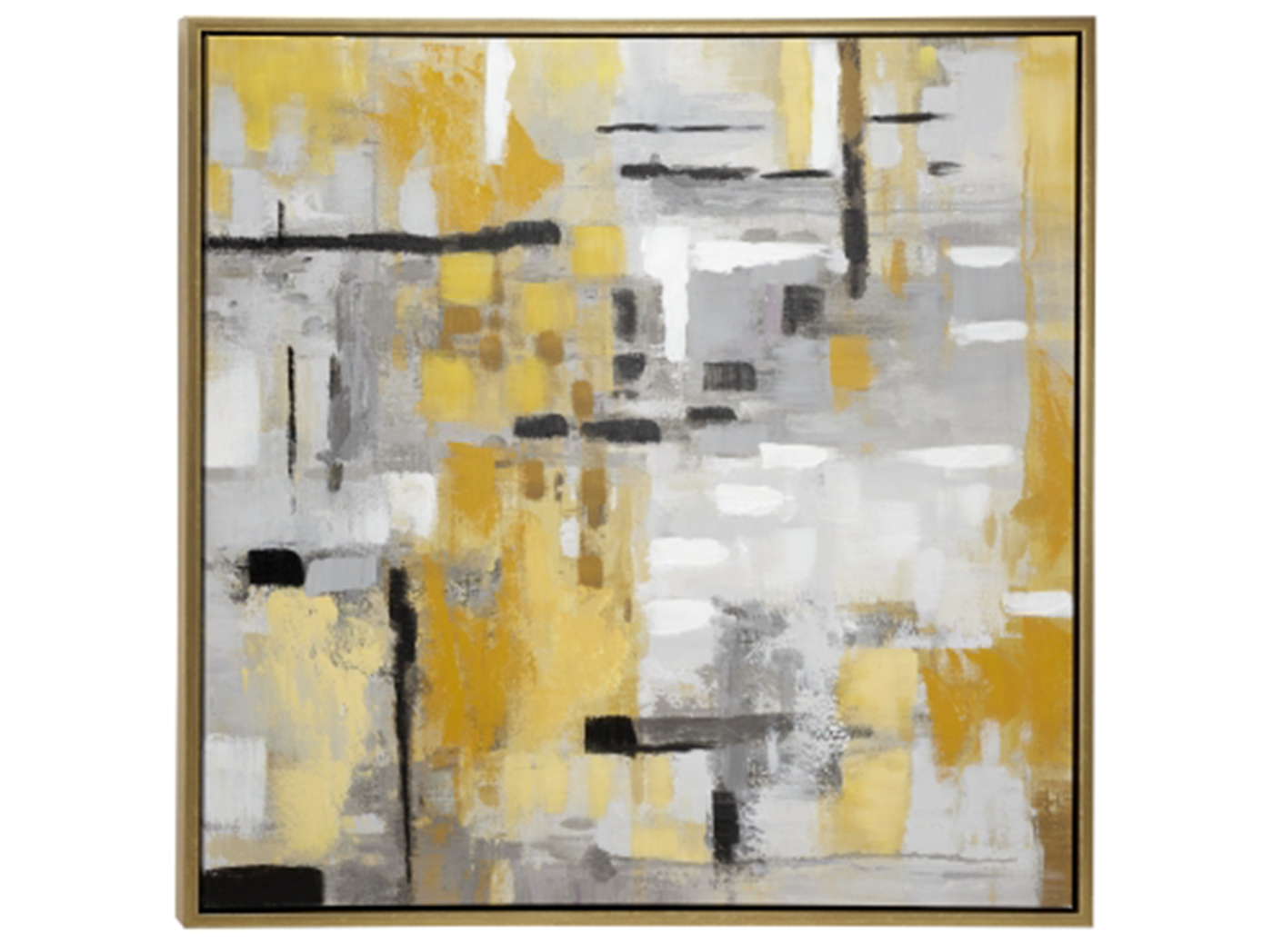"Grey and Mustard Framed Cavnas Art 39""W x 39""H"