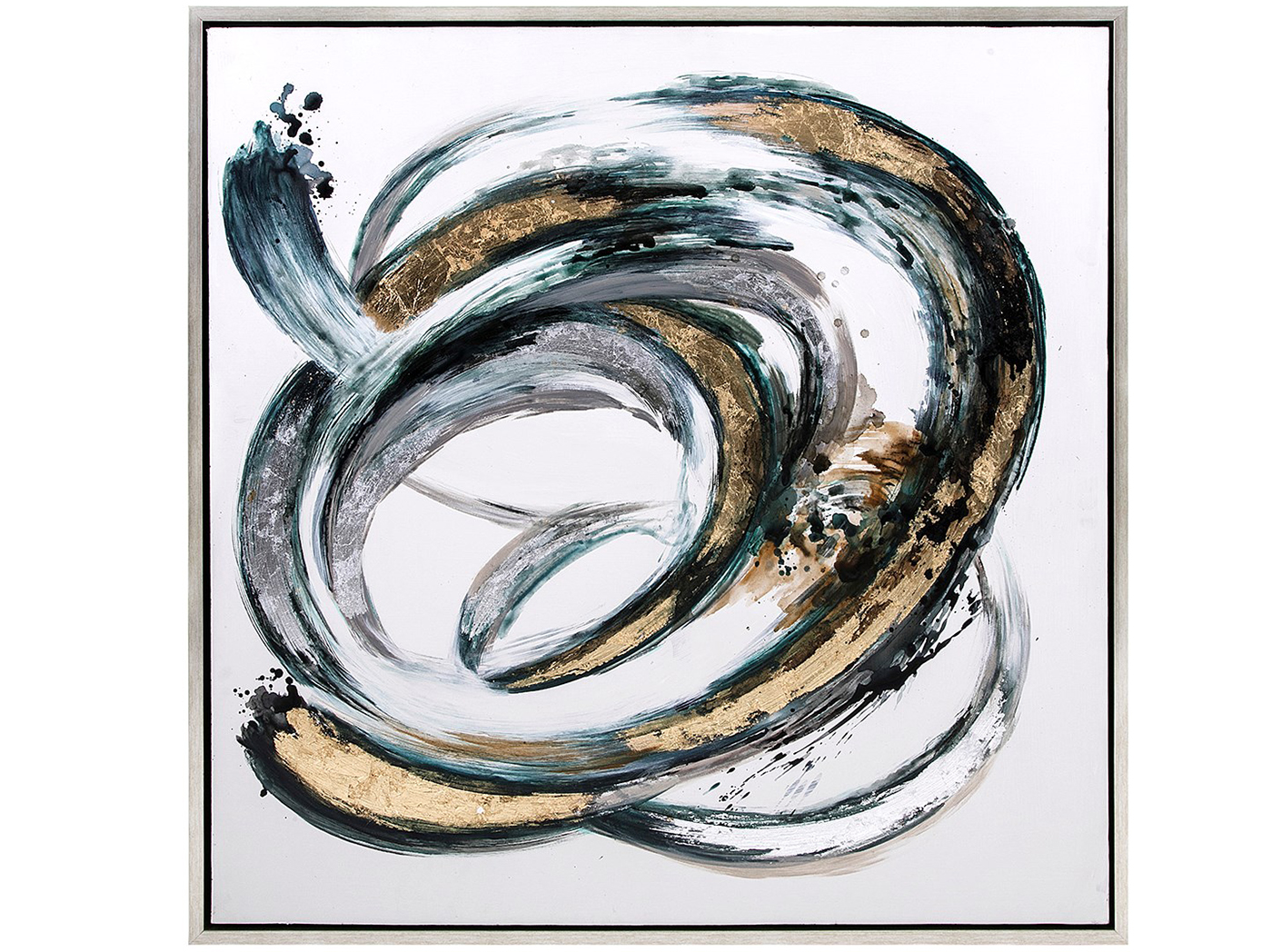 "Teal, Gold, Silver Swirl Framed Oil Painting 42""W x 42""H"