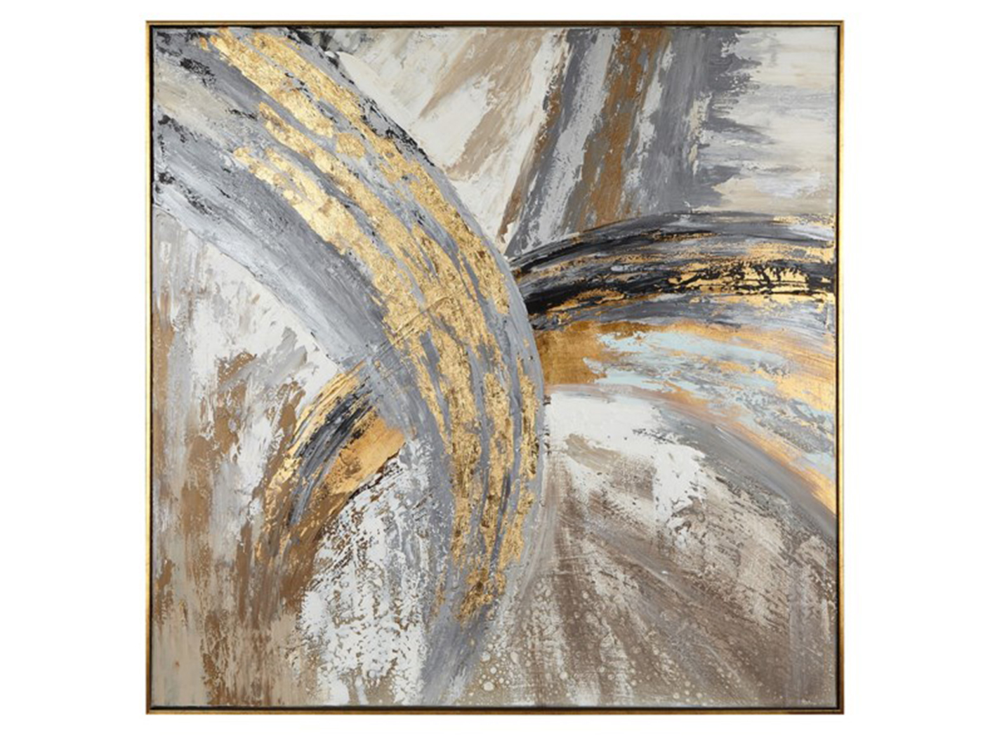 "Grey Gold and Black Abstract Framed Oil Painting 51""W x 51""H"
