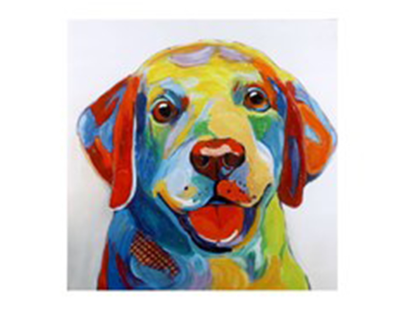 "Colorful Hand Painted Dog Canvas Art 40""W x 40""H"