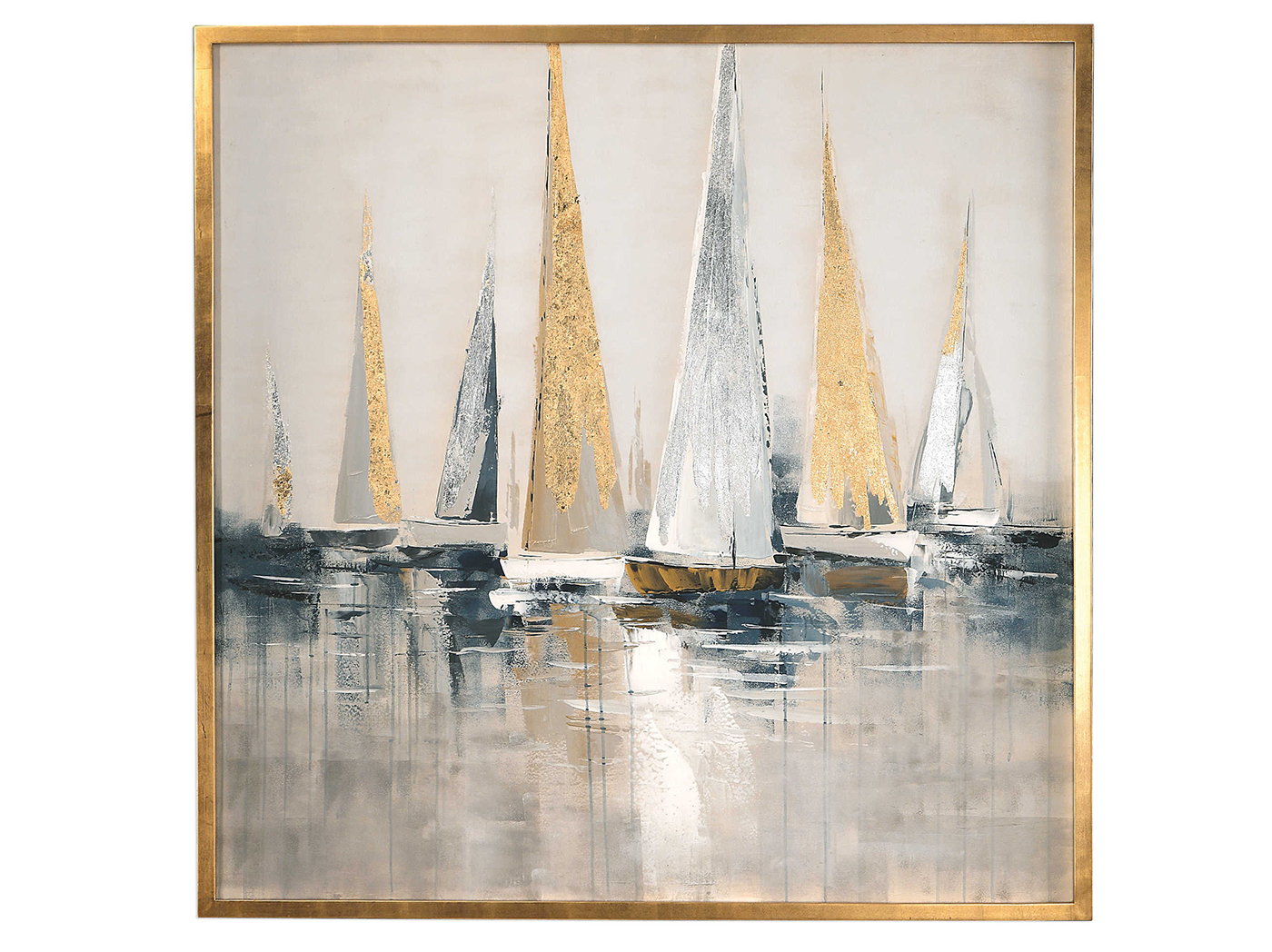 "Silver and Gold Sailboats Handpainted Canvas 52""W x 52""H"
