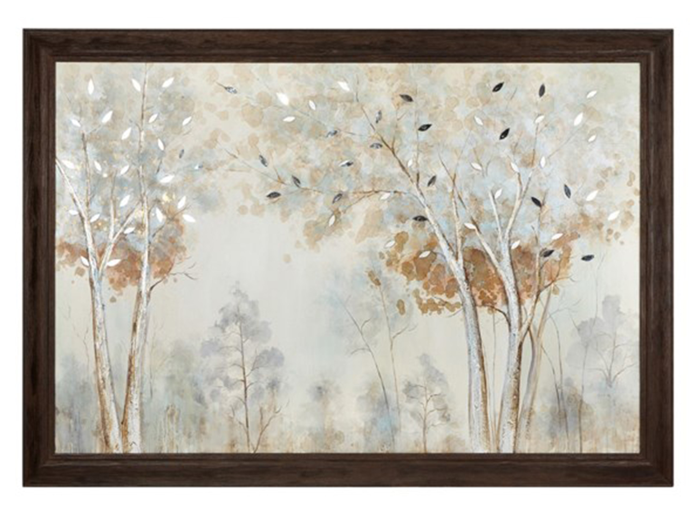 "Silver and Gold Mirrored Leaves Trees Framed Painting 67""W x 47""H"