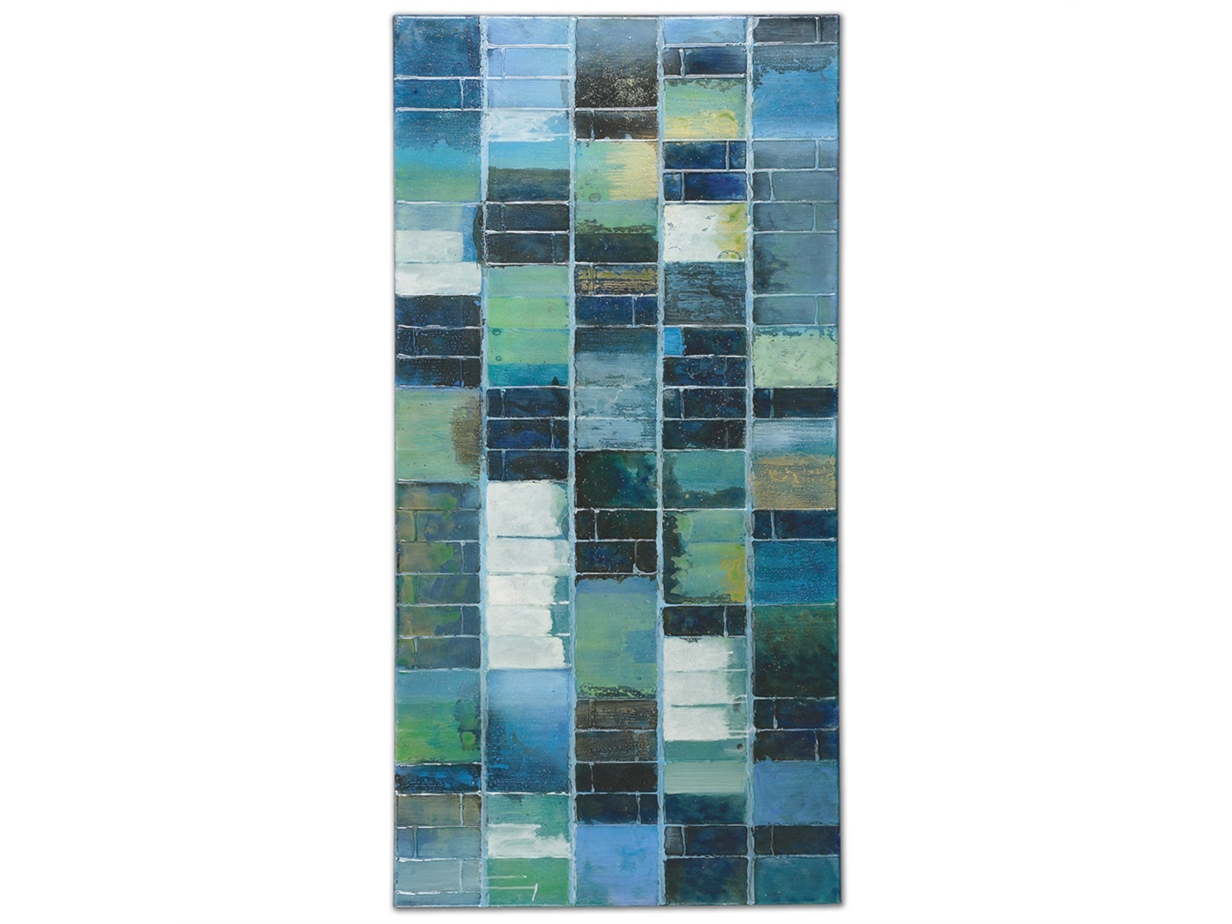 "Blue Tiles Handpainted Canvas Wall Decor 60""W x 30""L"
