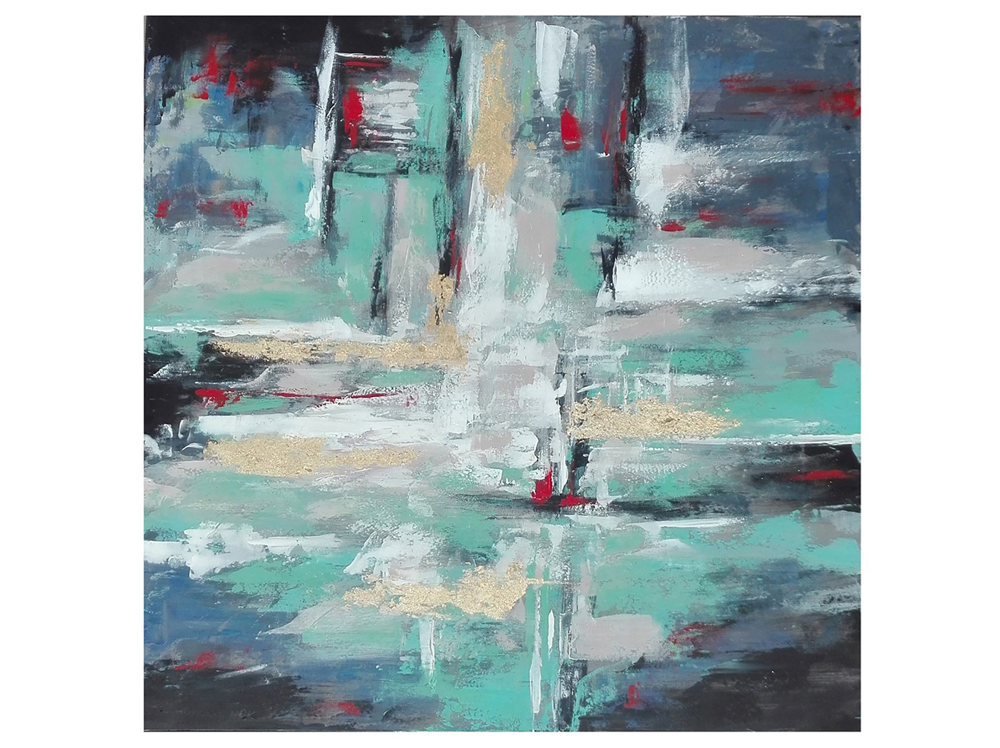 "Teal Blue and Red Abstract Handpainted Canvas 50""W x 50""H"
