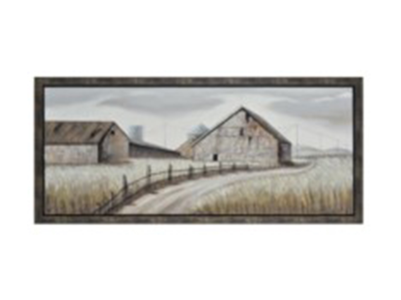 "Old Farm Road Handpainted Framed Canvas 71""W x 32""H"