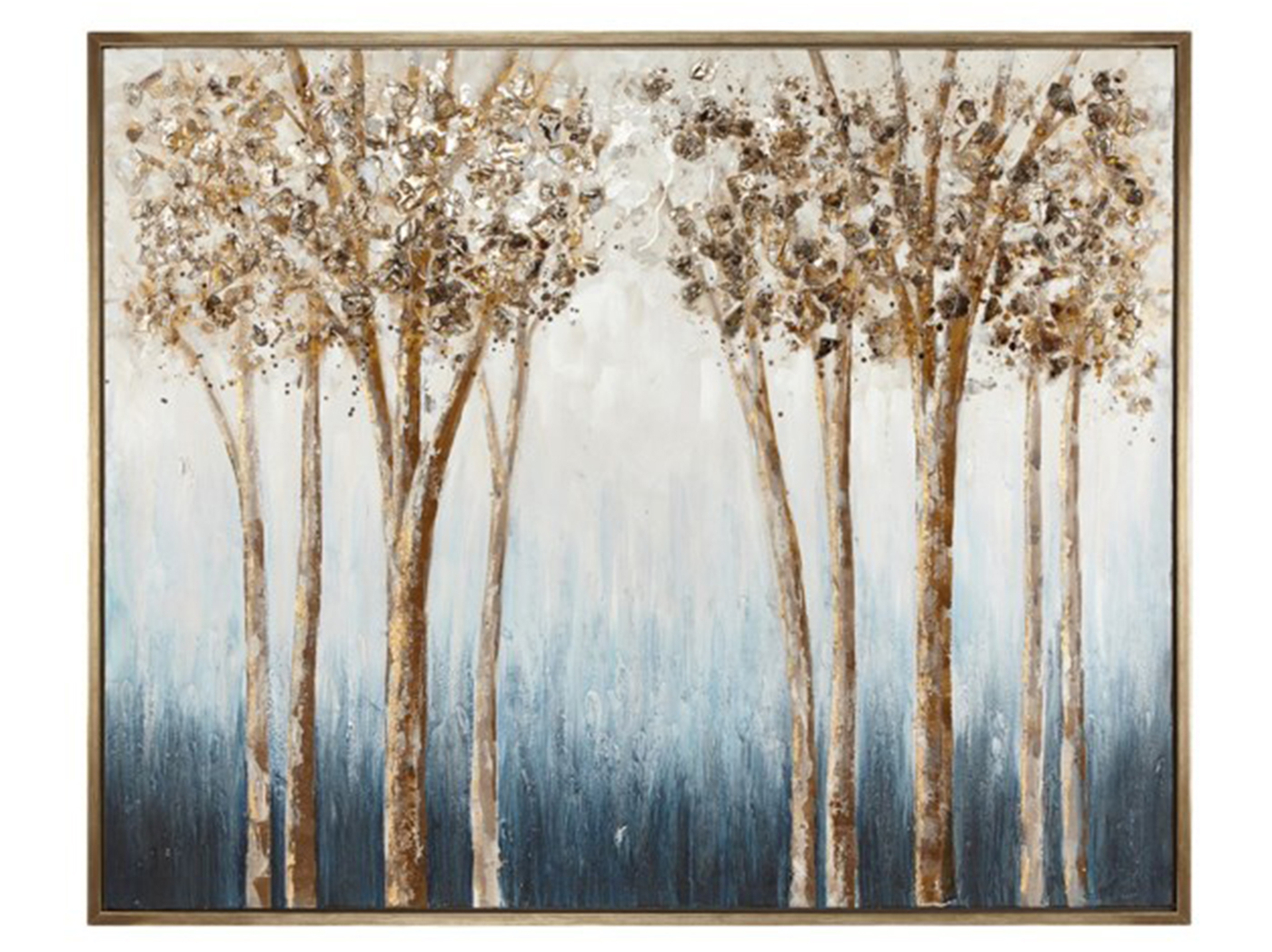 "Blue and Brown Trees Framed Oil Painting 52""W x 42""H"