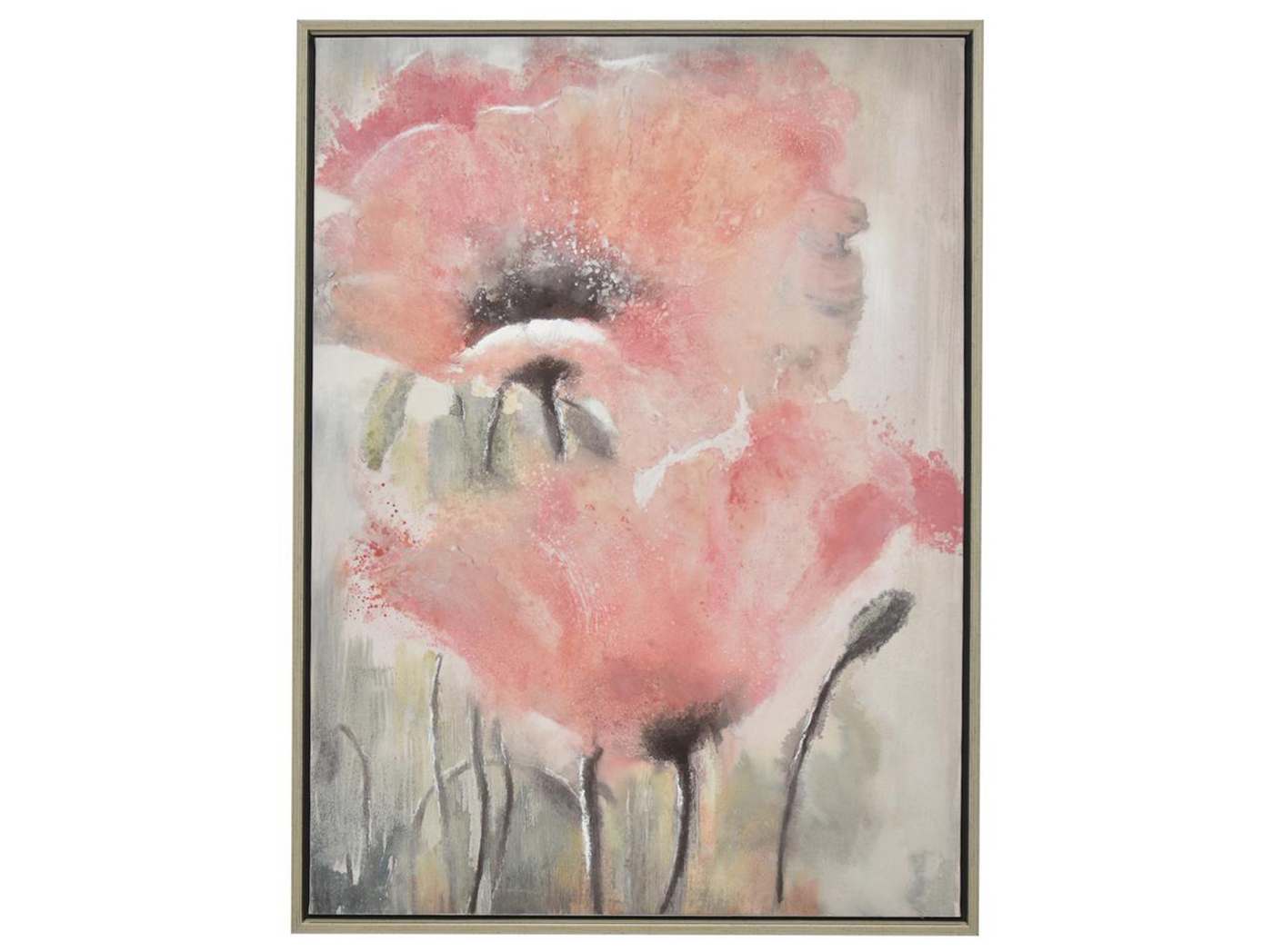 "Pink Flowers Framed Oil Painting 30""W x 40""H"