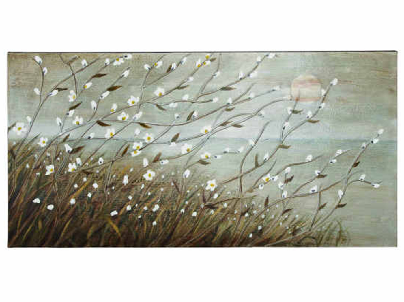 "White Field Flowers Canvas Art 55""W x 28""H"