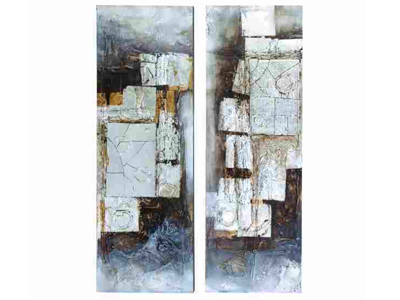 "Assorted Black/White/Gold Abstract Canvas Art Each 16""W x 47""H"