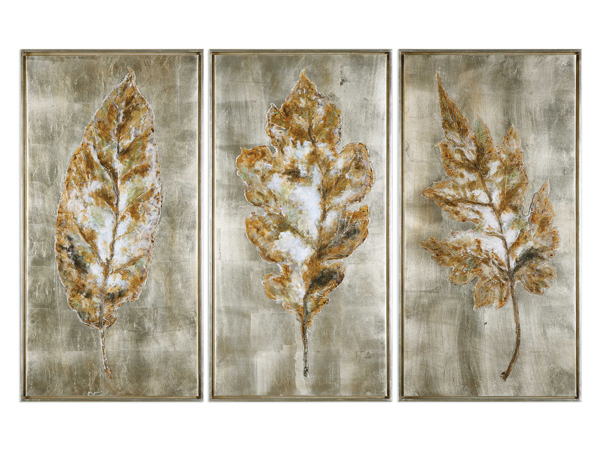 "Set of 3 Champagne and Silver Leaves Wall Decor 21""W x 41""H"
