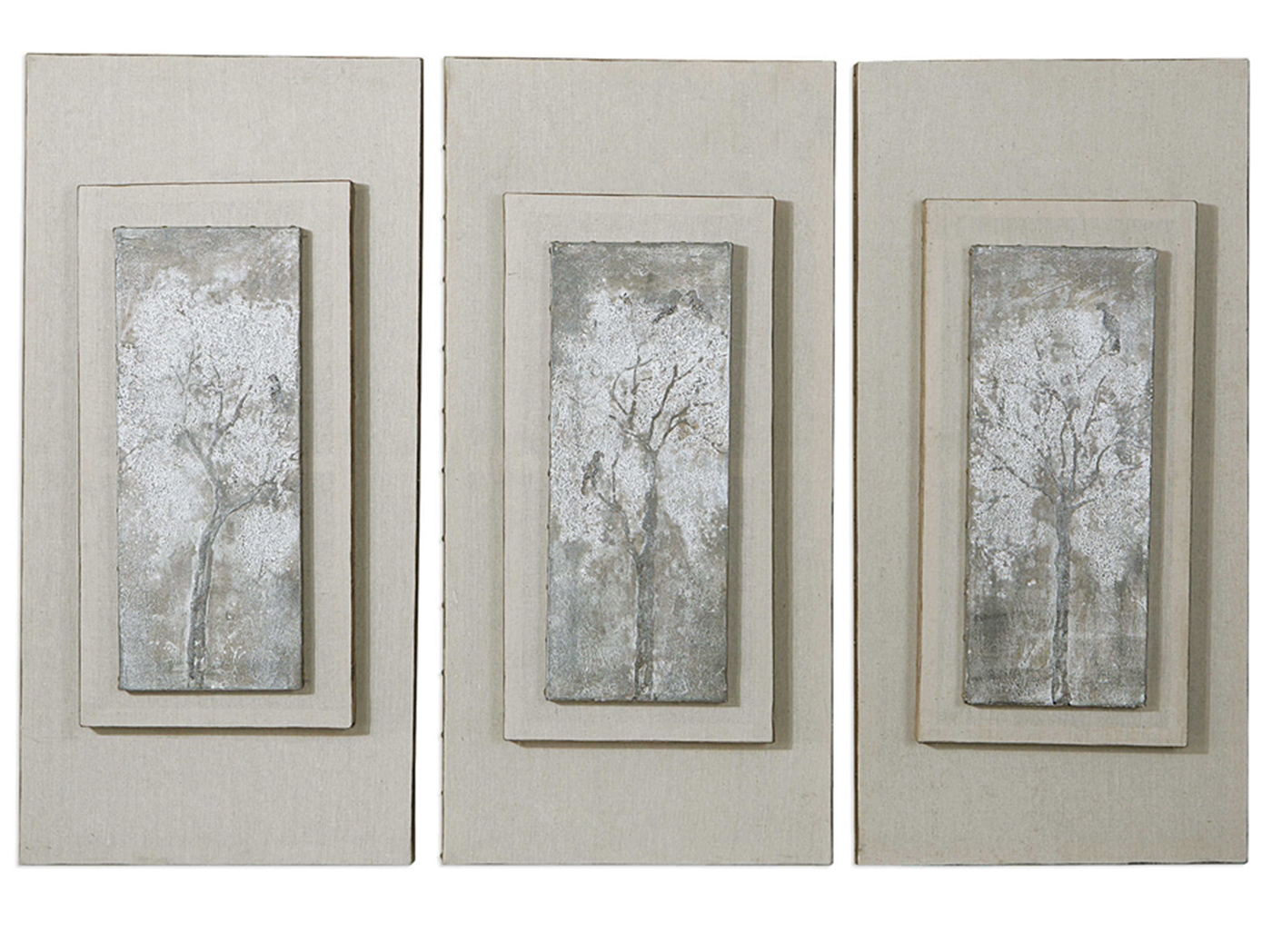 "Set of 3 Triptych Trees Handpainted Canvas Art Set 17""W x 36""H"