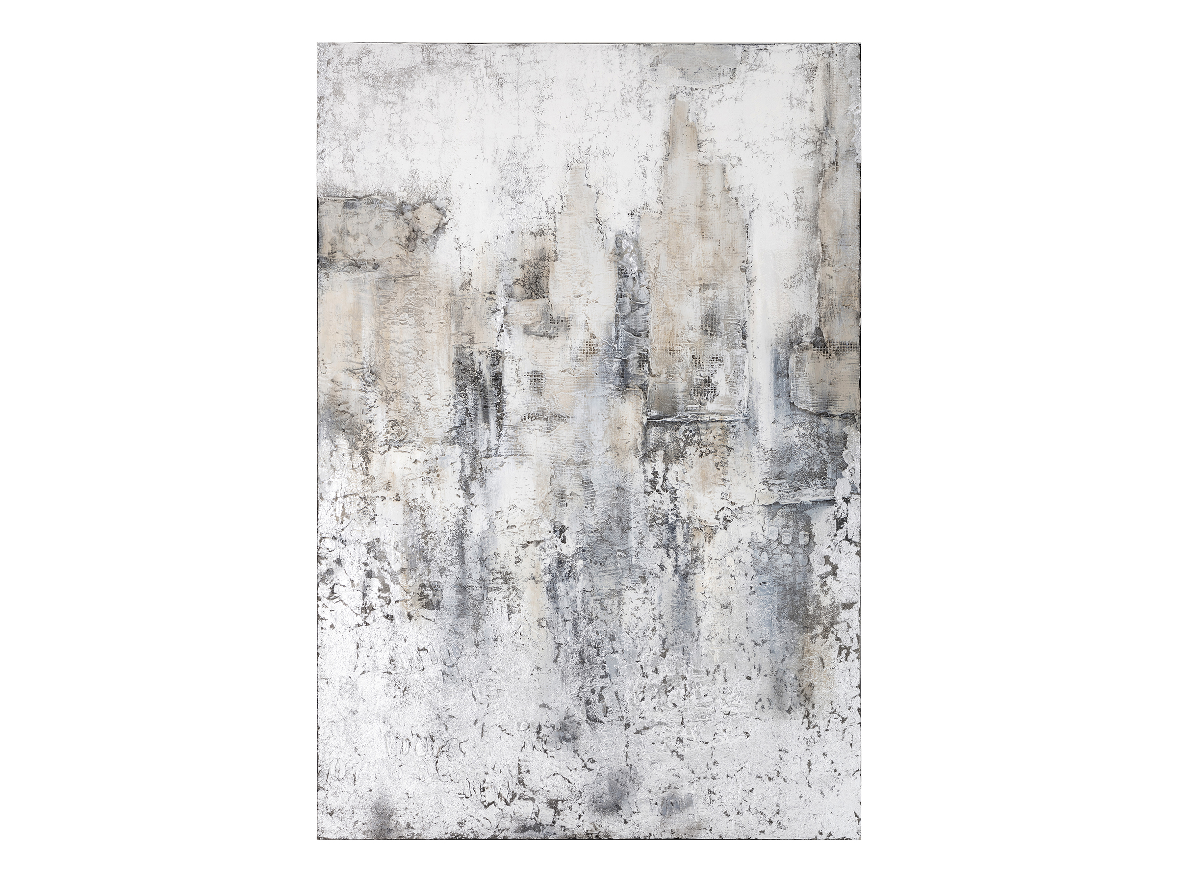 "Tan/White/Grey Oversize Painting 58.75""Wx86.5""H"