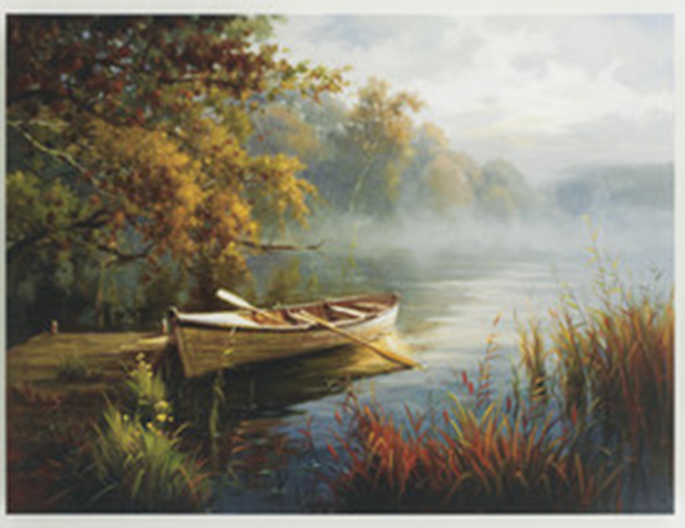 "Rowboat Waterscape Canvas Painting 48""W x 36""H"