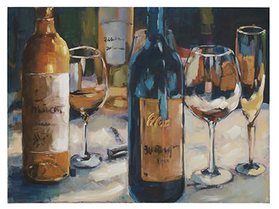 "Wine Blues Canvas Art 48""W x 36""H"