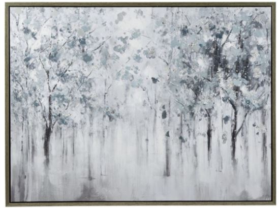 "Blue, Gray, and White Misty Forest Trees Framed Wall Art 47""W x 37""H"