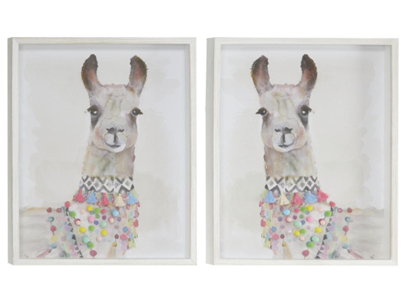 "Set of 2 Llama Framed Prints 17""W x 21""H"