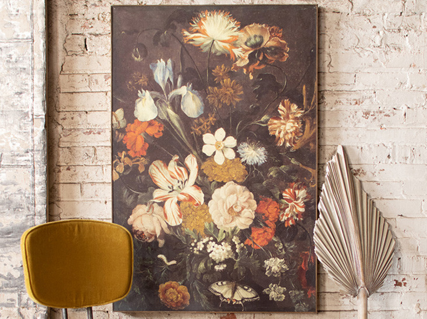 "Black, Cream, Orange, and Gold Floral Canvas Print 32""W x 47.5""H"