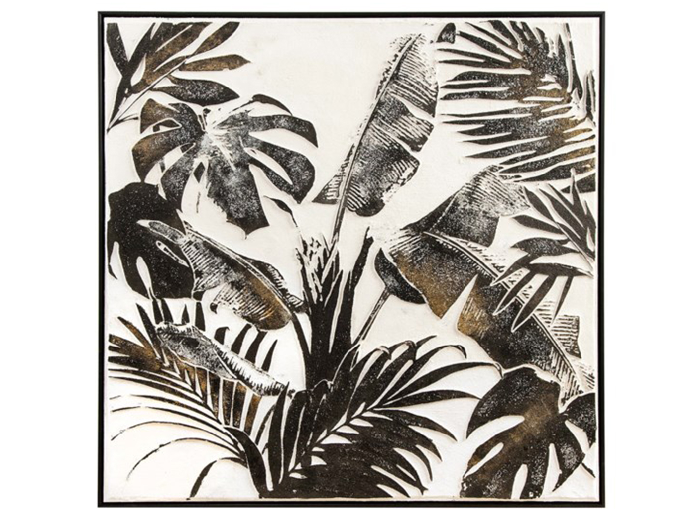 "Black, White, and Brown Tropical Leaves Framed Canvas 36""W x 36""H"