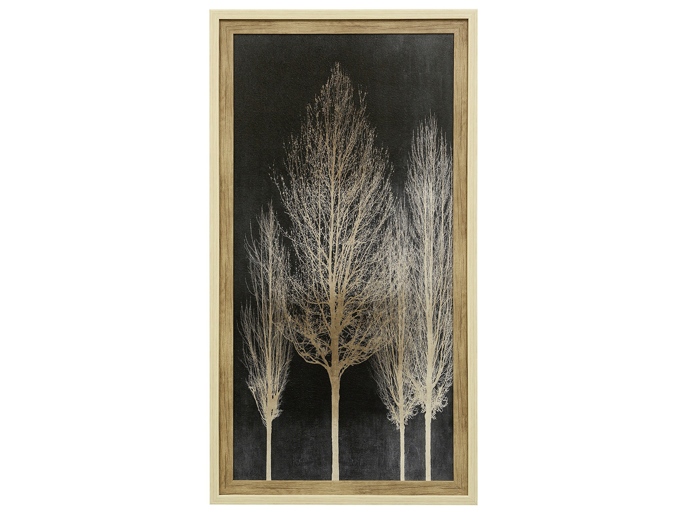 "Ivory and Black Trees II Textured Framed Print 29""W x 53""H"