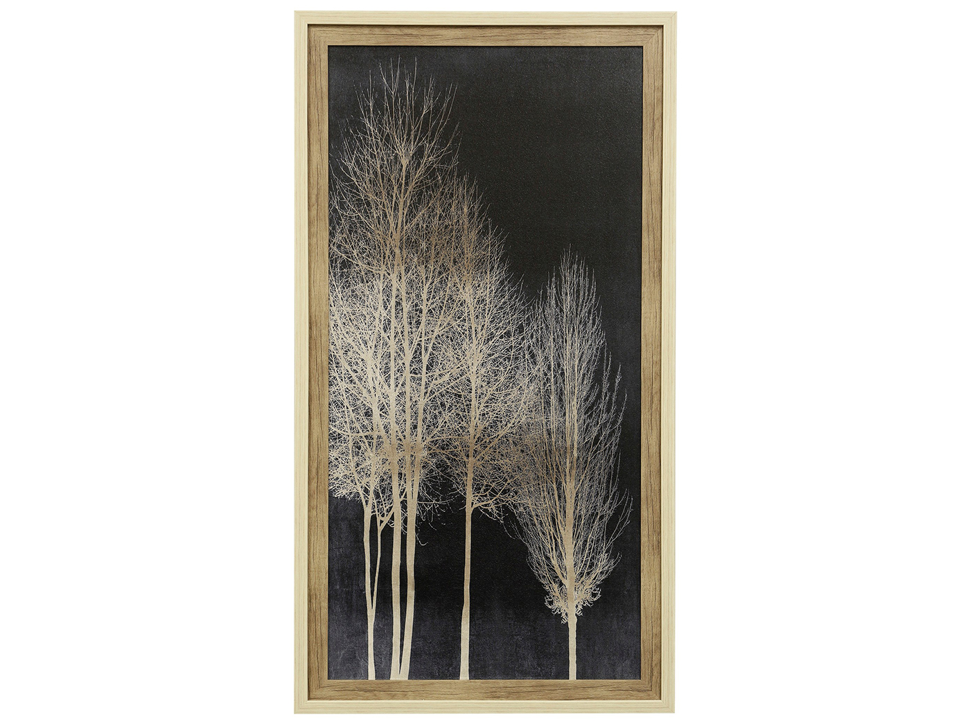 "Ivory and Black Trees I Textured Framed Print 29""W x 53""H"