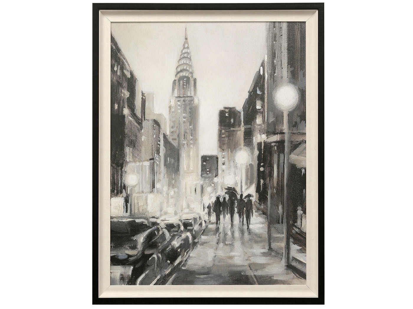 "Nighttime City Textured Framed Print 35""W x 46""H"