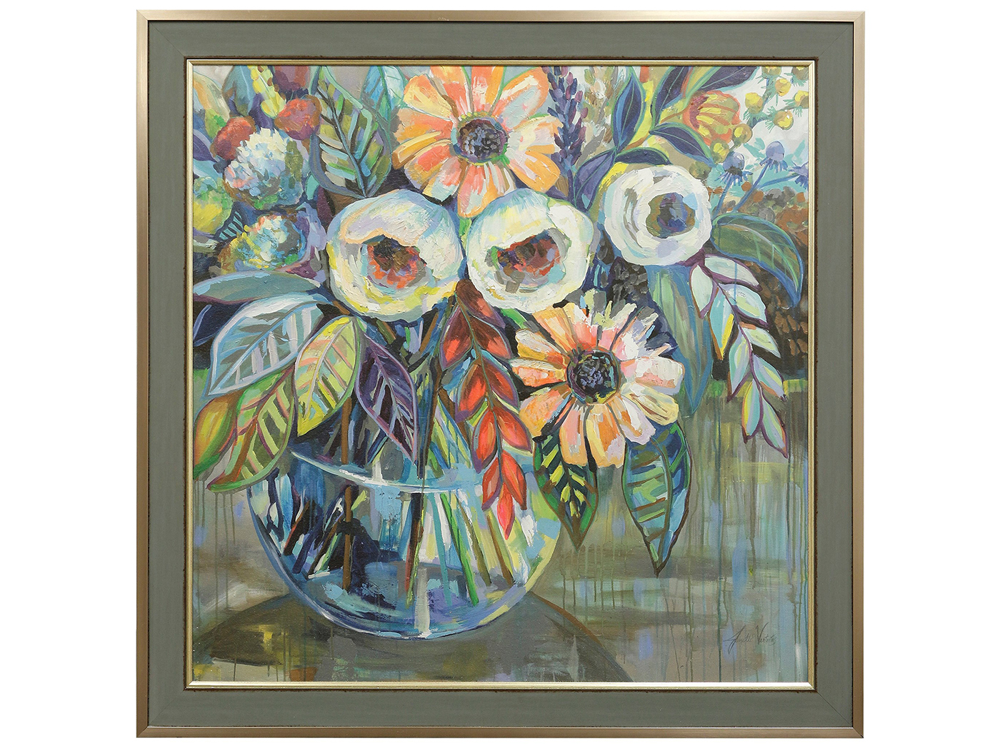 "Colorful Floral Textured Framed Print 49""W x 49""H"