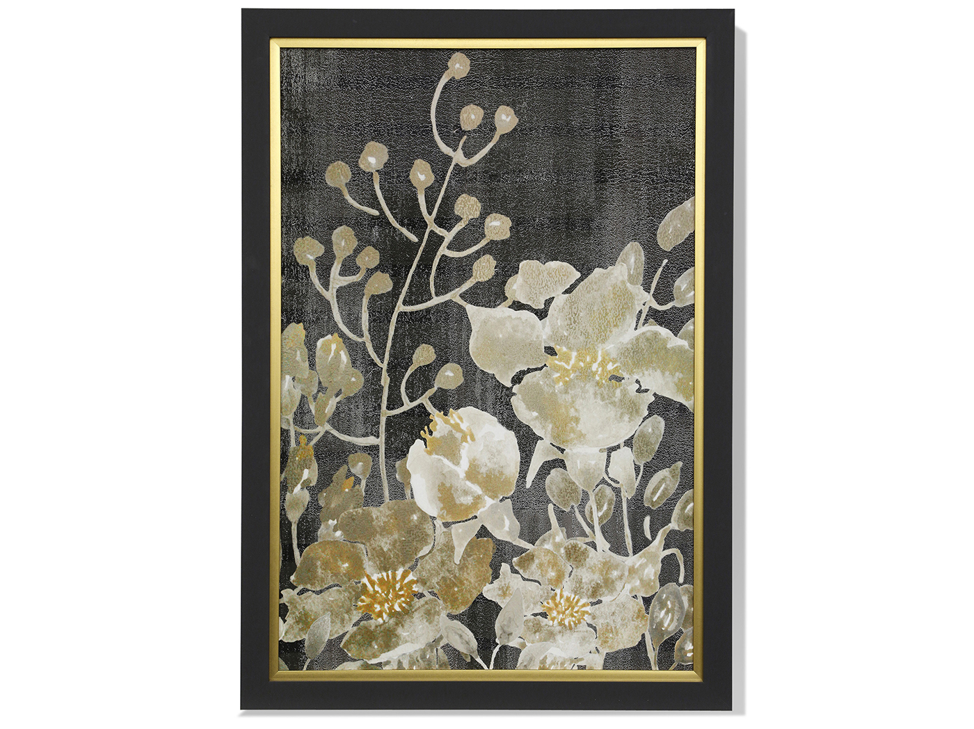 "Black, Cream, and Yellow Floral I Framed Print 28""W x 40""H"