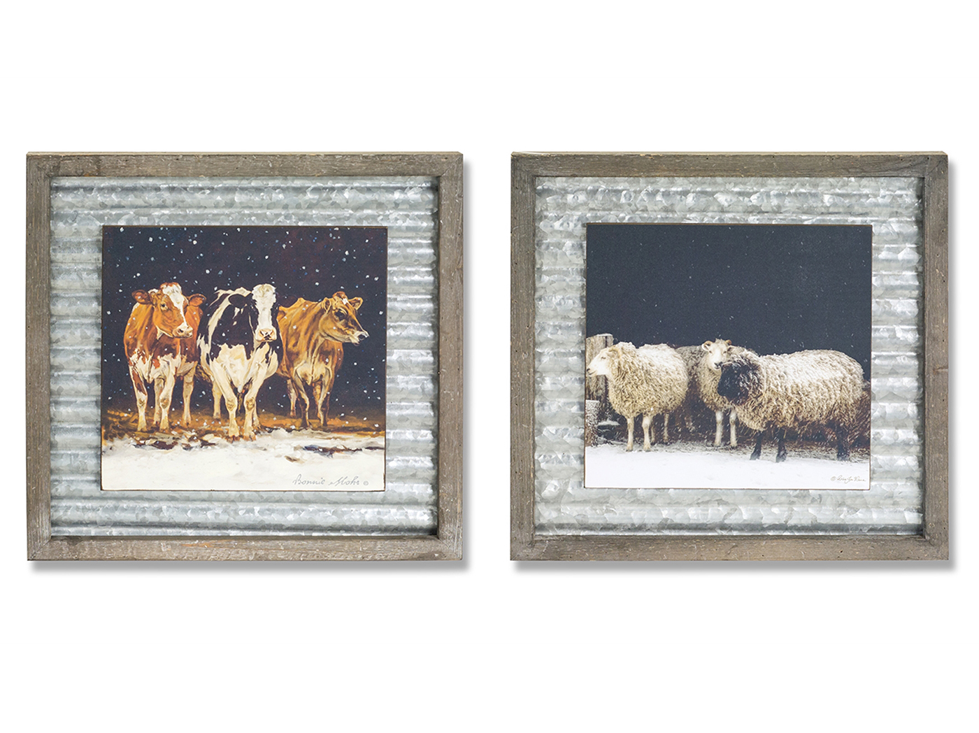 "Assorted Cow and Sheep Plaque 18""W x 18""H"