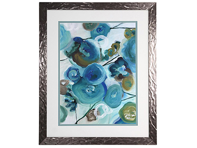 "Blue Flowers Abstract Framed Print 27""W x 33""H"