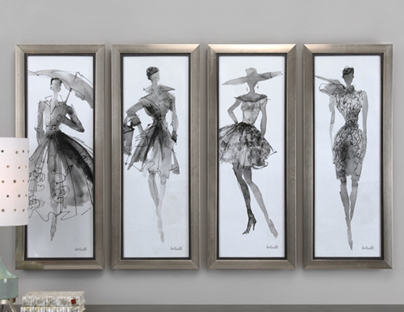 "Set of 4 Fashion Sketchbook Wall Decor 16""W x 40""H"