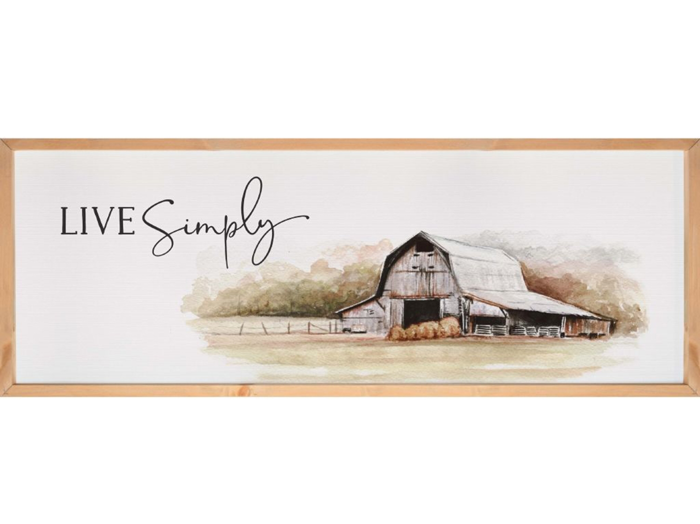 "Live Simply- Barn Textured Framed Print 45.75""W x 16.75""H"