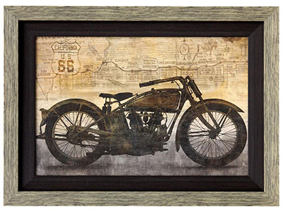 "Ride Motorcycle Framed Print 47""W x 35""H"