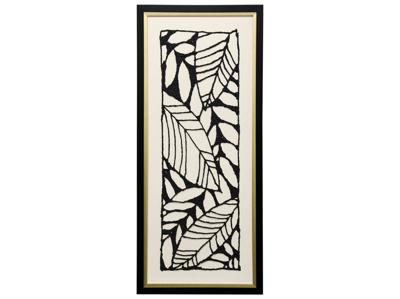 "Black & White Leaf I Textured Framed Cutout Art 19""W x 43"" H"
