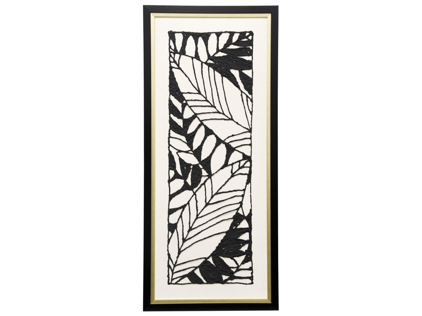 "Black & White Leaf II Textured Framed Cutout Art 19""W x 43"" H"