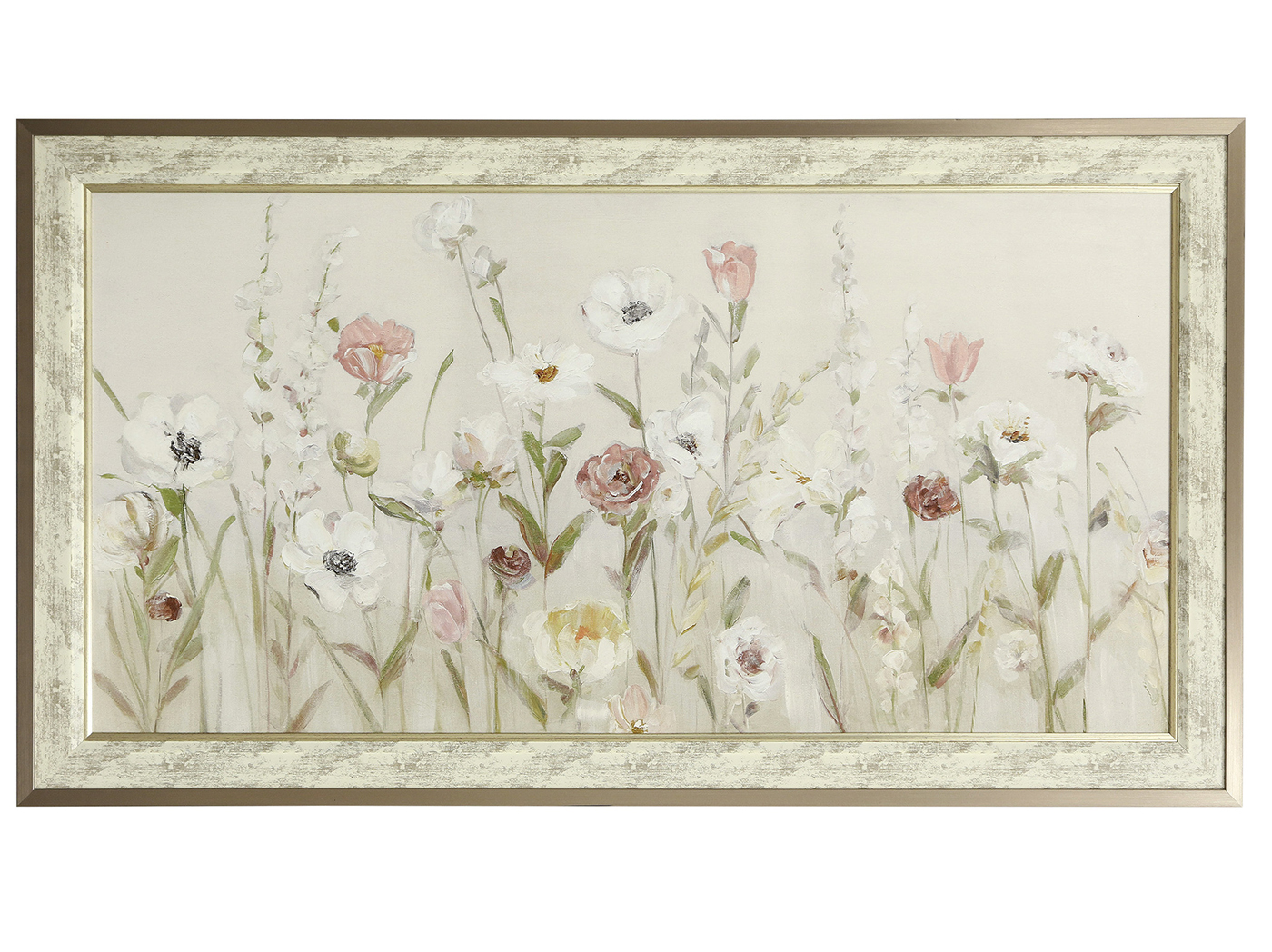 "Cream, Pink, and Yellow Flowers Framed Print 54""W x 34""H"