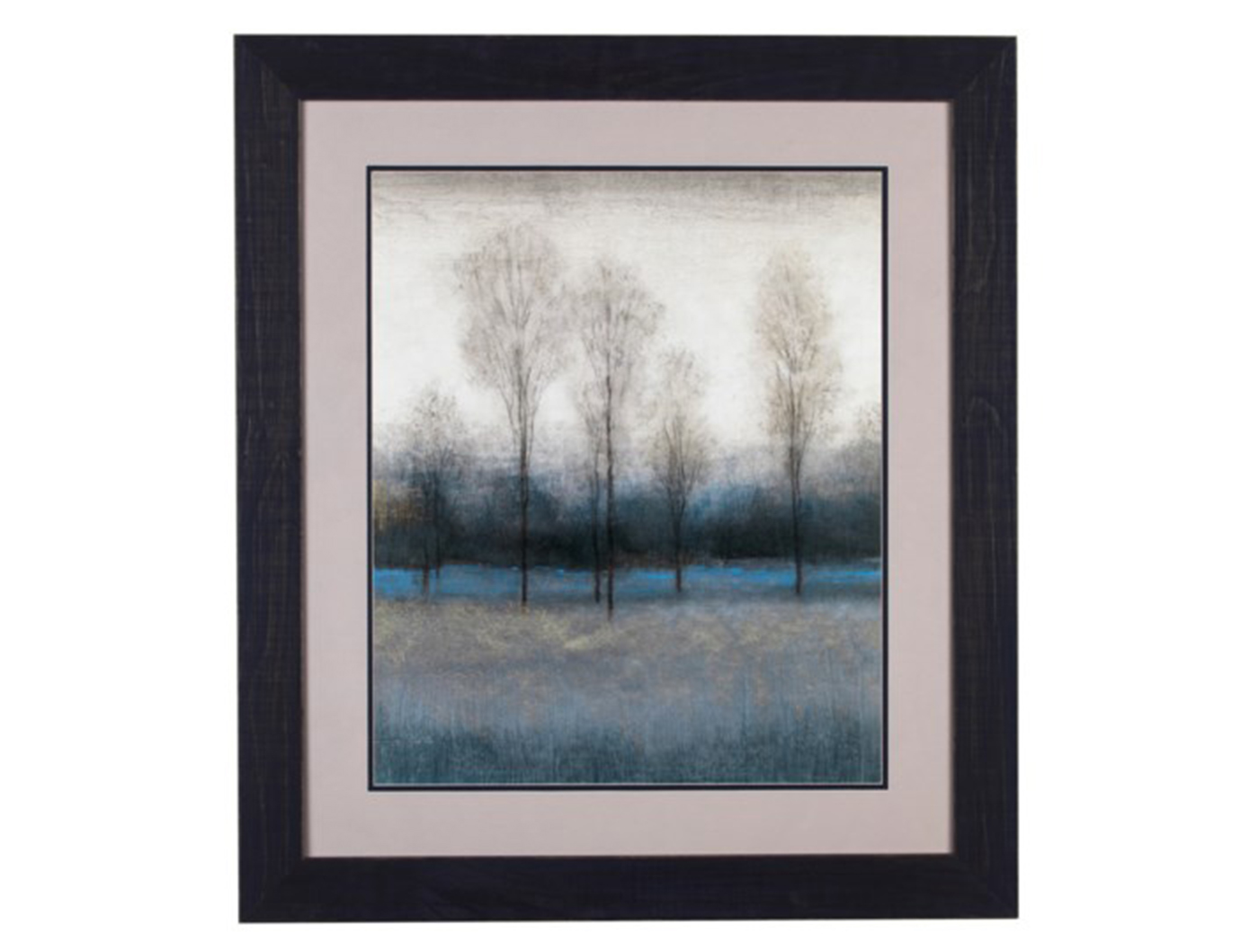 "Bare Trees In Blue Field Framed Print 33""W x 37""H"