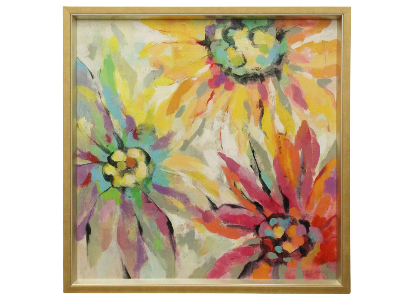 "Rainbow Flowers Textured Framed Print 38.5""W x 38.5""H"