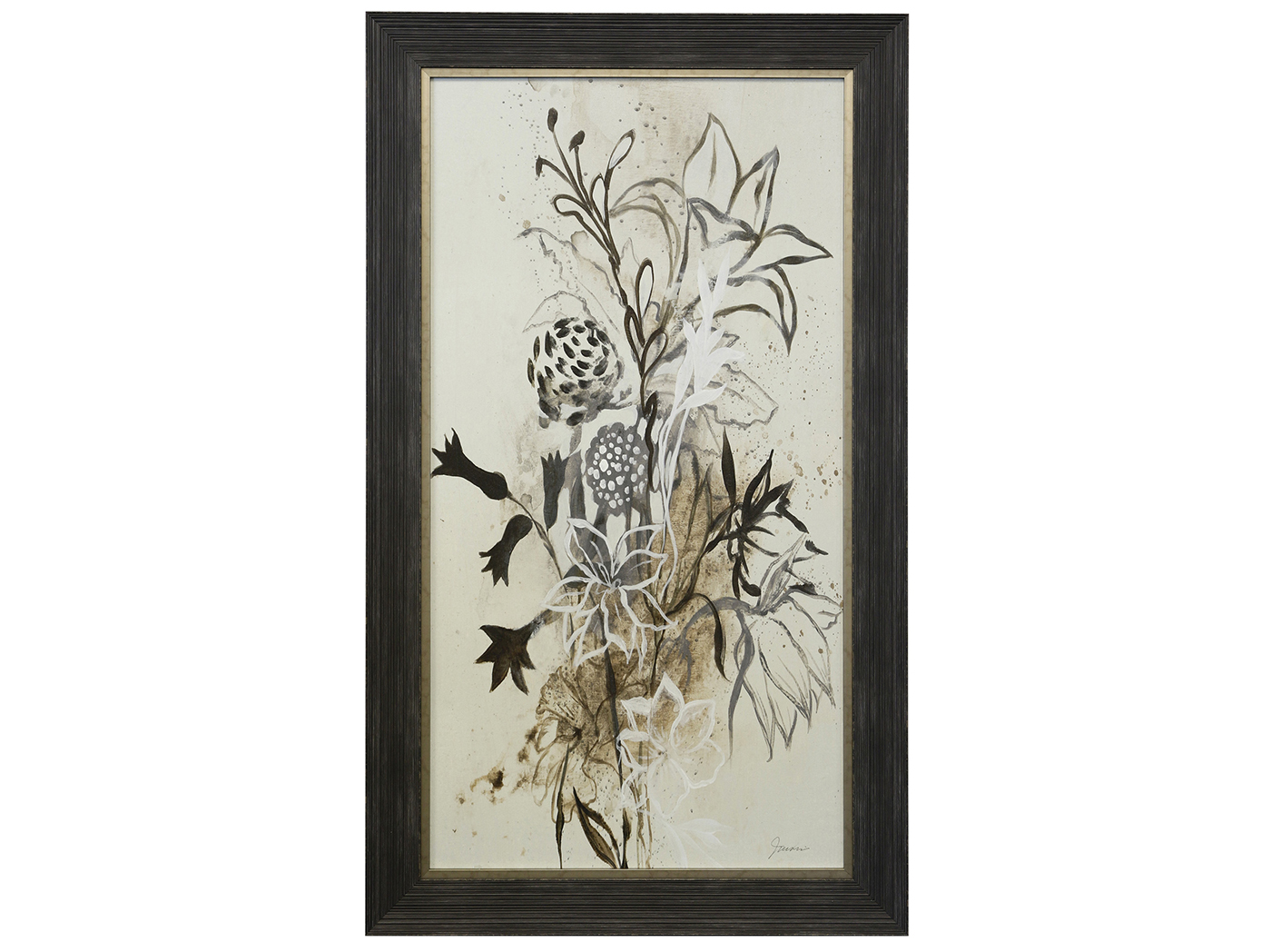 "Black and Cream Bouquet I Framed Textured Print 31""W x 53""H"