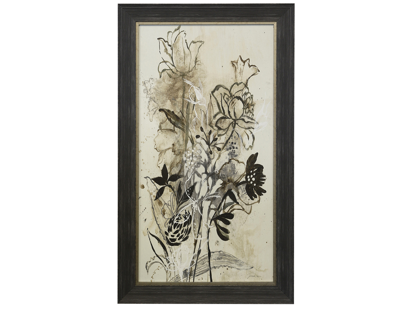 "Black and Cream Bouquet II Framed Textured Print 31""W x 53""H"