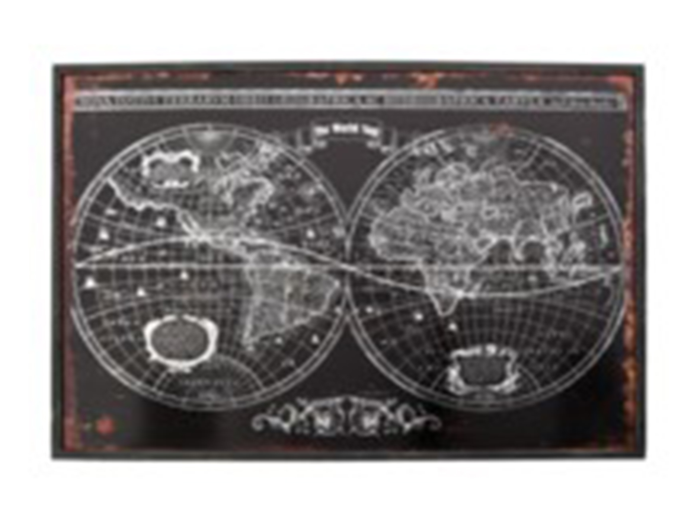 "Black World Map 47.5""W x 31.5""H"