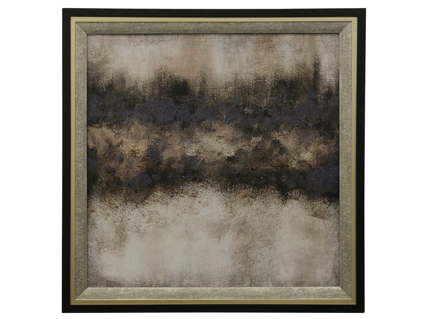 "Black Gray and Tan I Abstract Framed Print 36""W x 36""H"