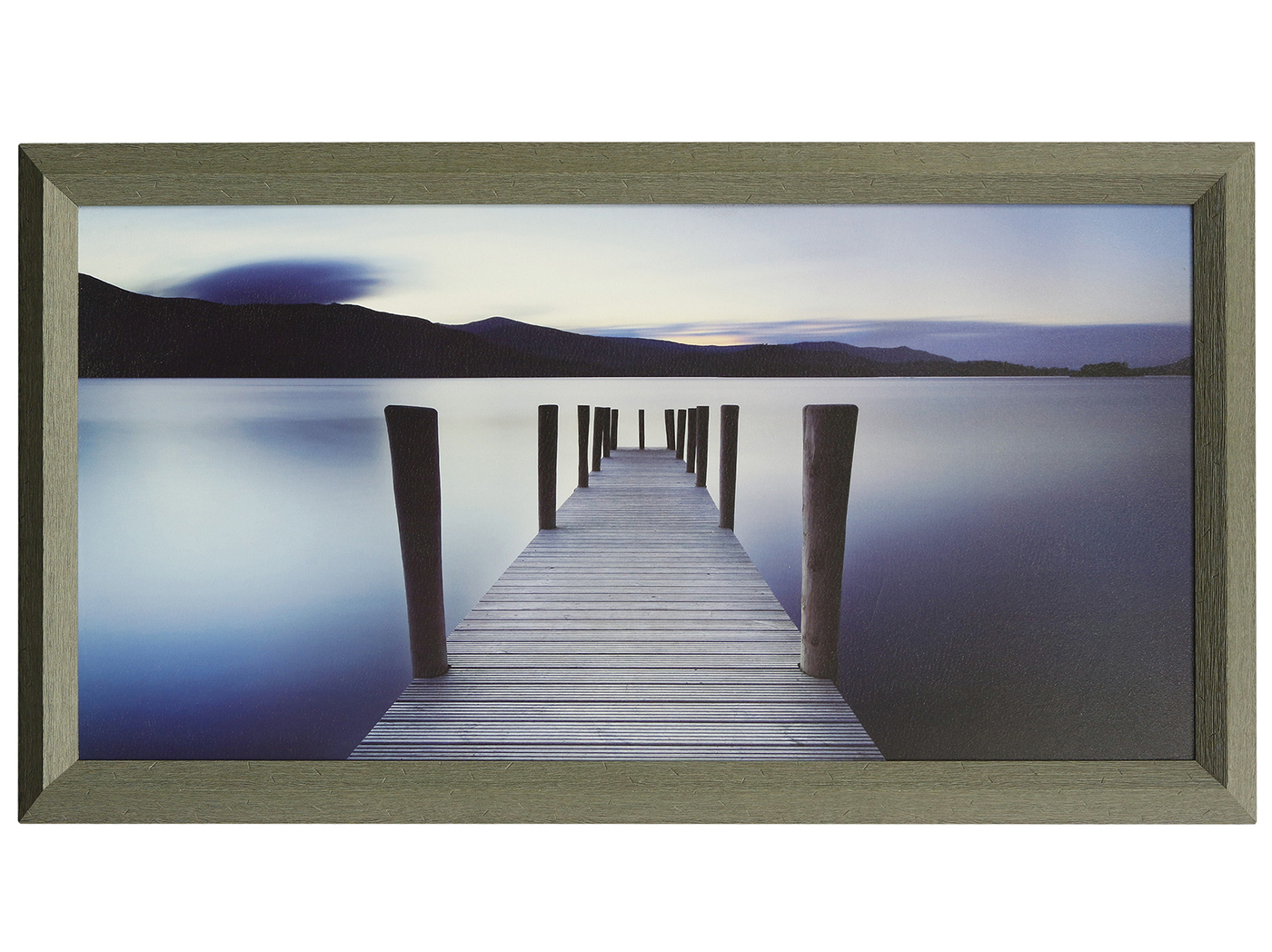 "Pier To The Blue Textured Framed Print 67""W x 37""H"