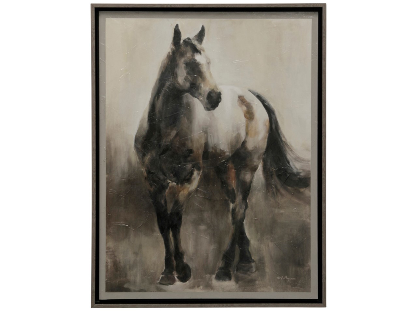 "Black Cream and Tan Horse Framed Print 34""W x 44""H"
