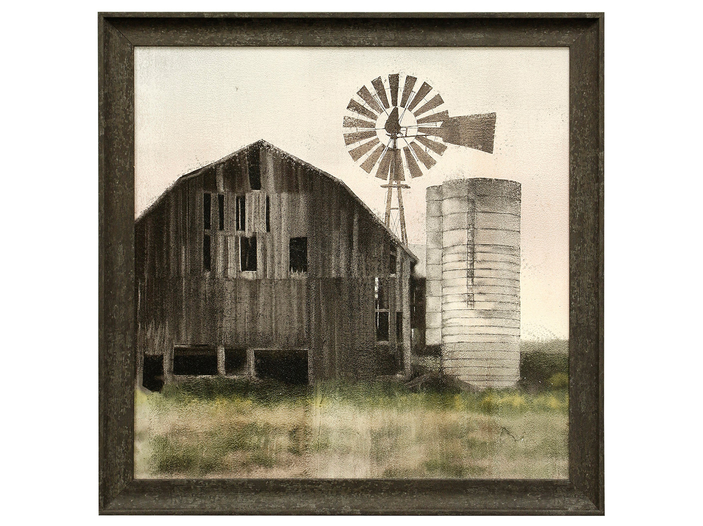 "Barn and Windmill Textured Framed Print 27""W x 27""H"