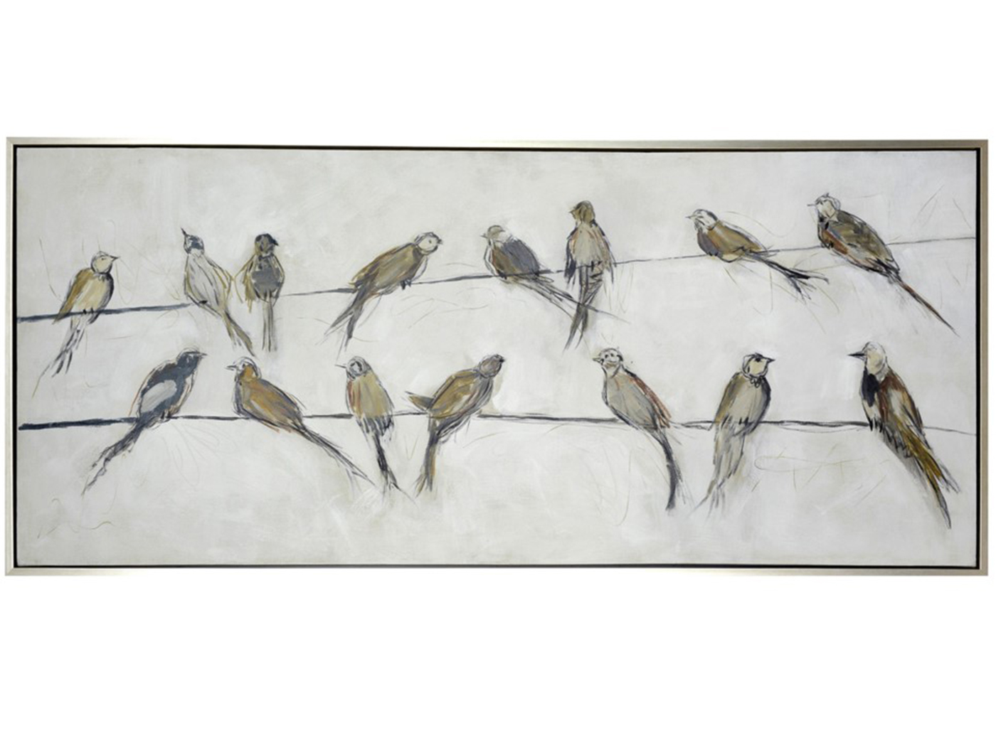 "Birds On A Wire Framed Canvas Art 70""L x 30""H"