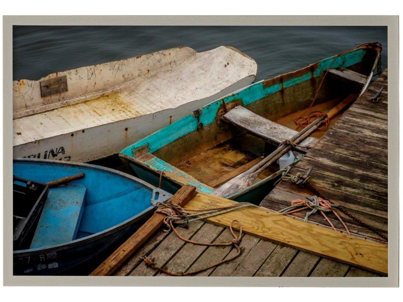 "Rowboats Framed Print 38""W x 26""H"
